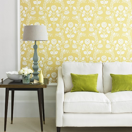 Yellow country living room decorating with country - Living room yellow wall ...