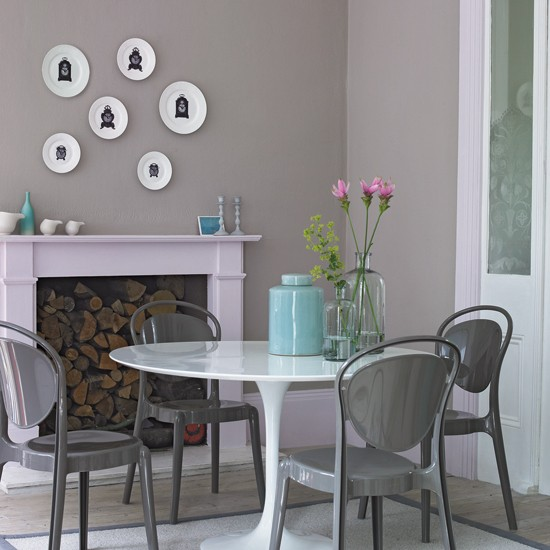 Grey and white dining room for Dining room ideas grey