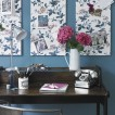 Pretty blue floral home office 