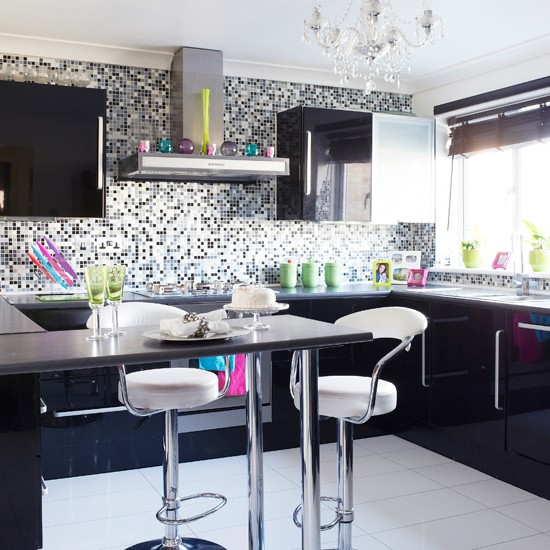 Black and grey mosaic kitchen for Black and grey kitchen designs