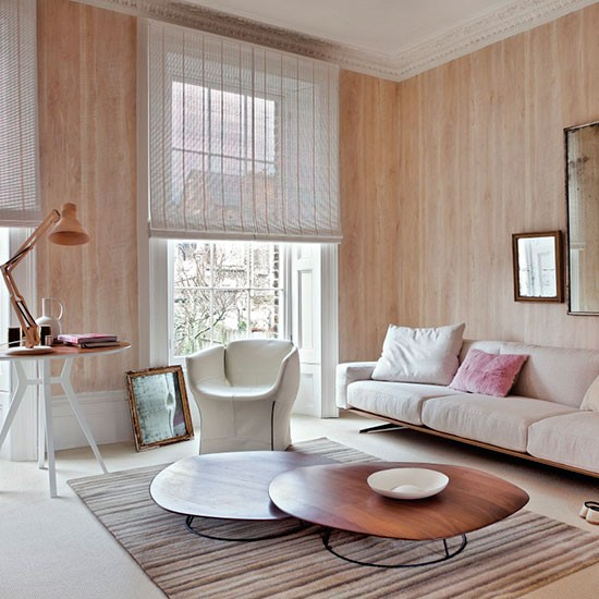 Contemporary Wood Effect Living Room Neutral Living Room