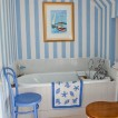 Blue and white striped bathroom 