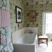 Eclectic feature wallpaper bathroom