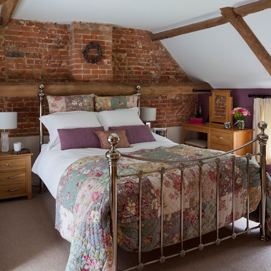 Bijou country bedroom with brick walls small bedroom for Bedroom ideas country