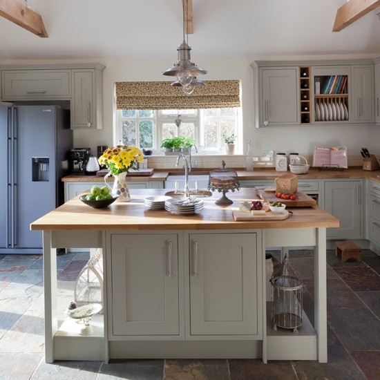 Kitchen Ideas Wooden Worktops: Slate Green And Wood Kitchen