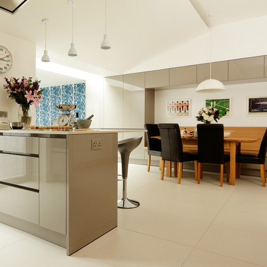 Contemporary grey kitchen diner for Modern kitchen company
