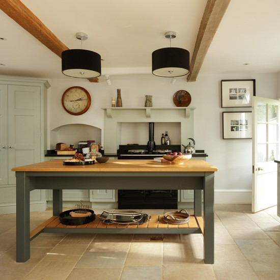 Home And Kitchen: Pale Blue And Wood Country Kitchen