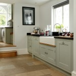 Pale blue country-style kitchen