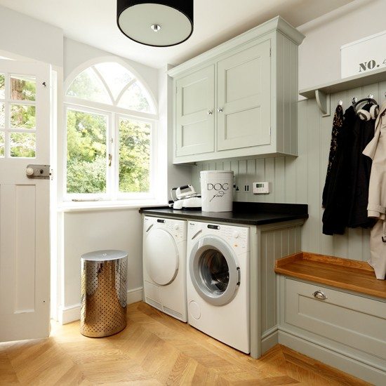 Pale Blue And Wood Utility Room