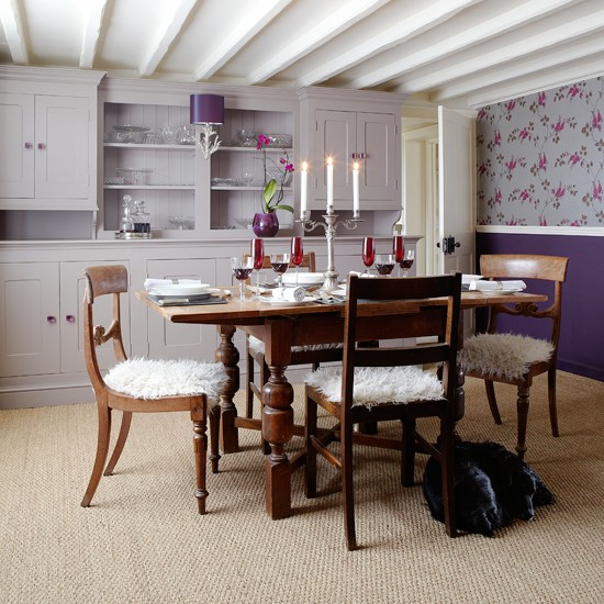 Lilac and wood dining room   Dining room decorating ...