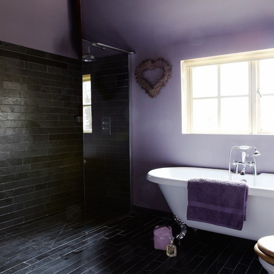 Purple and slate bathroom bathroom decorating for Purple bathroom tiles ideas