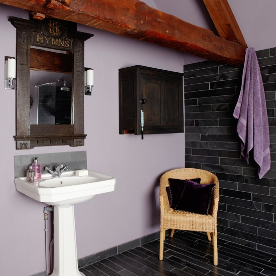 Purple and slate country bathroom Purple and black bathroom ideas