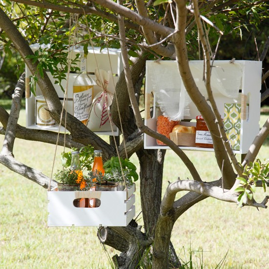 Summer garden with hanging storage boxes
