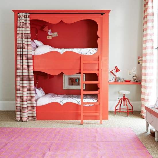 Red And White Bedroom With Bunk Bed Bedroom Decorating