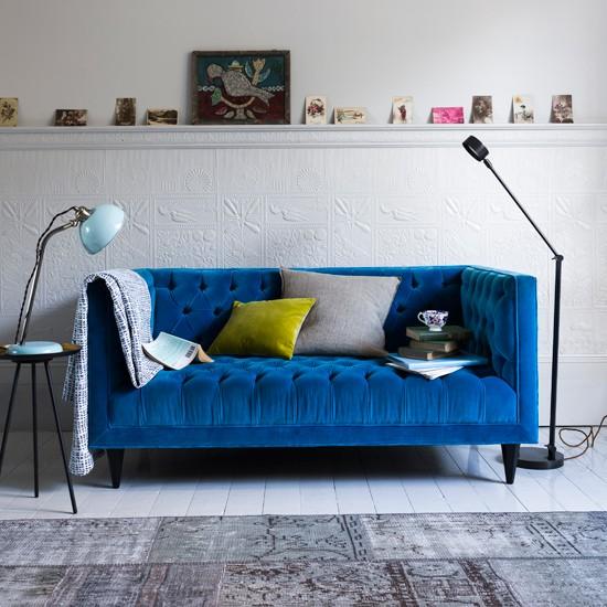 Modern Living Room With Blue Velvet Sofa And Task Lighting Living Room Decorating