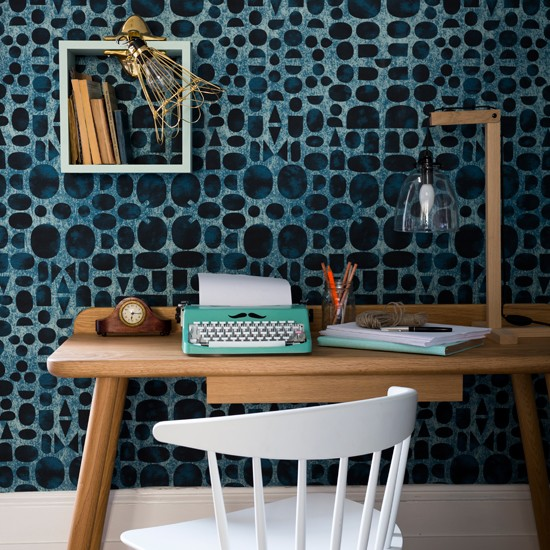 Contemporary home office with statement wallpaper home for Wallpaper home office