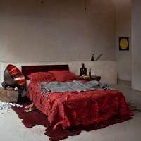Orange and grey modern bedroom