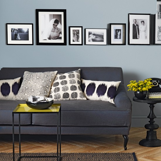 Pale blue and charcoal grey living room living room decorating - Grey and blue living room ...