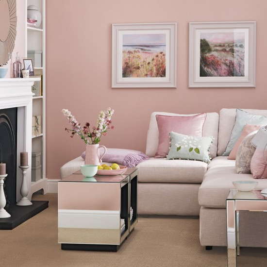 Candy floss pink living room living room decorating for Living room ideas pink and grey