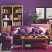 Purple and wood living room