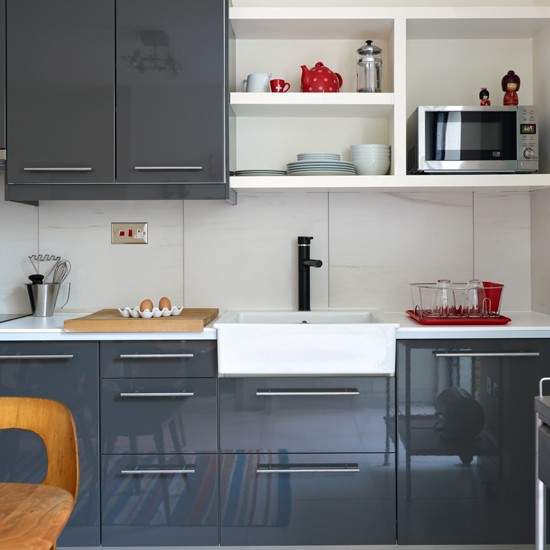 Modern high gloss grey kitchen kitchen decorating for Kitchen units grey gloss