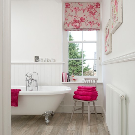 White Panelled Bathroom With Pink Accents Bathroom