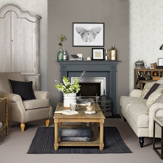 Brown and grey living room for Grey wallpaper living room ideas
