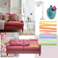 Colourful pastel living room