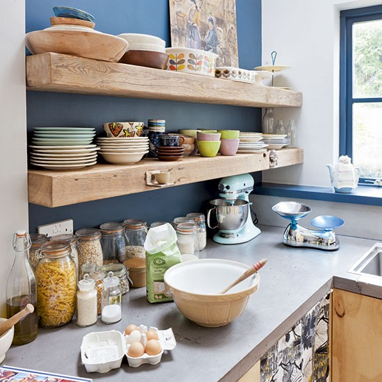 Timber shelves on bold painted wall kitchen shelving for Kitchen shelf ideas