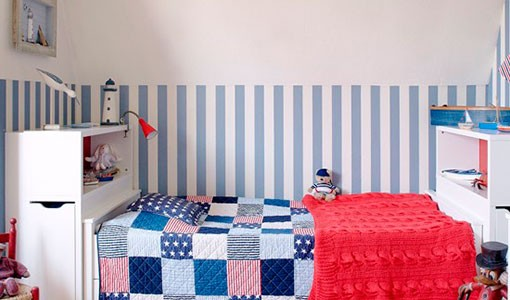 Blue patchwork children's bedroom