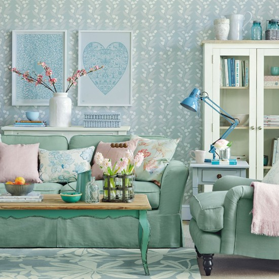 Calming green living room pastel colour schemes for Living room ideas pastel