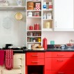 Red and cream 1950s-style kitchen