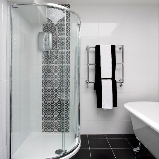 Black and white bathroom with patterned tiles bathroom for Monochrome bathroom designs