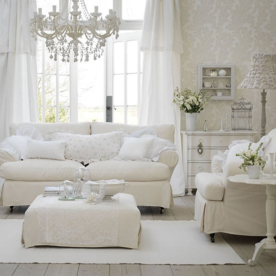 White living room ideas for French chic living room