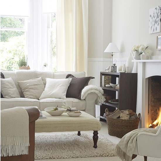 Living room in soft natural shades white living room for Home decorating company