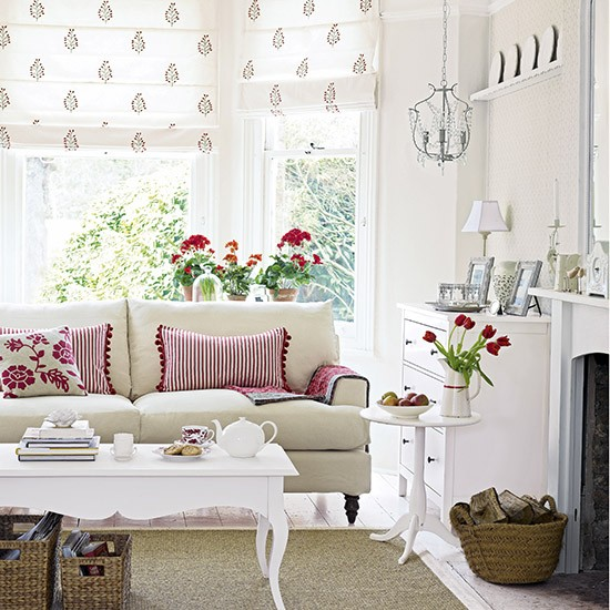 Scandi living room with red and florals | Living room ideas | Living room | PHOTO GALLERY | Ideal Home | Housetohome.co.uk
