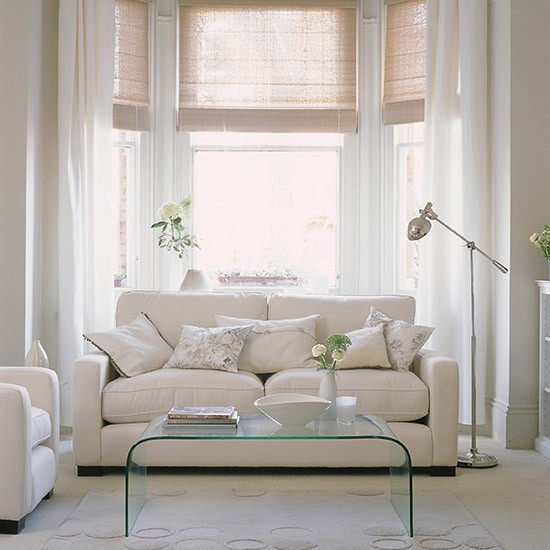 White living room with clear furniture white living room for Modern living room curtains uk
