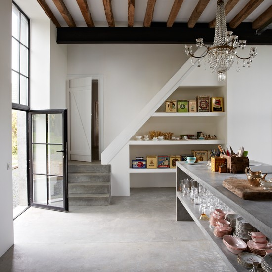 Grey Rustic Kitchen With Simple Shelving