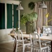 Sage and emerald green dining room