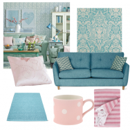 Green and pink living room