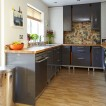 Glossy grey and wood kitchen