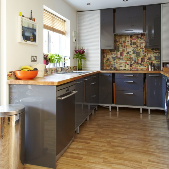 Glossy Grey And Wood Kitchen Decorating