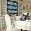 Blue and white checkered dining room