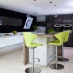 Lime green and black hi-gloss kitchen