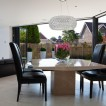Dining room extension with marble table