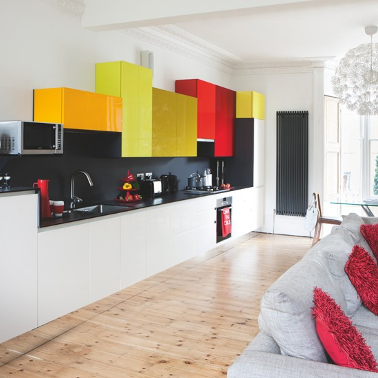 Modern kitchen with building block wall units modern for Coloured kitchen units uk