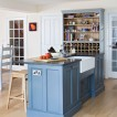 Soft blue painted kitchen