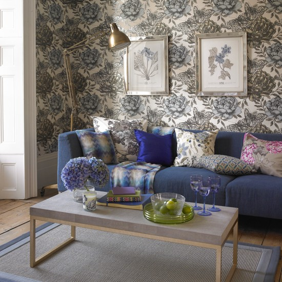 Blue Painterly Floral Living Room Country Decorating Ideas Country