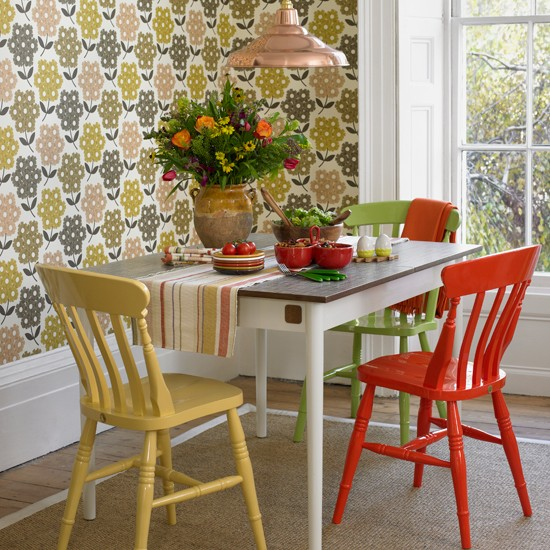 Mesa Sala De Jantar Retro ~ Retro wallpaper and mixandmatch painted furniture combine to create