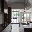 Spacious dark wood kitchen